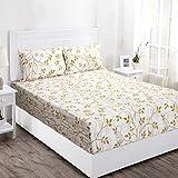 Maspar Superfine 144 TC Cotton Double Bedsheet with 2 Pillow Covers - Floral, Orange