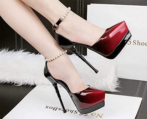 Aisun Damen Neu Künstlich Perlen Kontrastfarbe Geschlossen Spitz Zehe Sandalen Mit Schnalle Rot