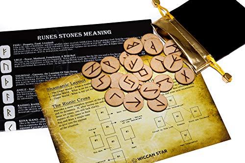 25 de madera runas piedra bolsa Set con diseño y significado pergamino (en inglés)