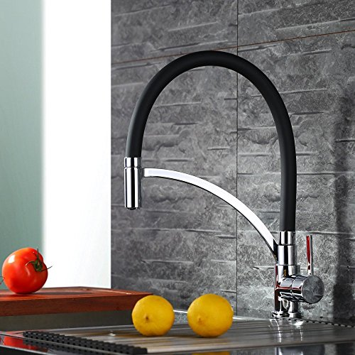 Homelody - Einhebel-Küchenarmatur mit flexibler Spiralfeder, Schwarz