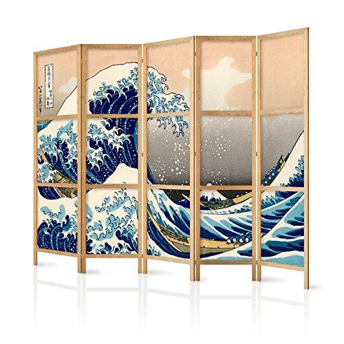 murando - Biombo XXL Kanagwa 225x171 cm - 5 Paneles - Lienzo de Tejido no Tejido de Alta Calidad - Tela sintética - Separador - Madera - Design - de Moda - Hecho a Mano - Deco – Japón p-B-0025-z-c