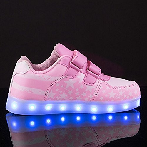 DoGeek -Enfant Led Chaussure Basket Lumineuse - Pour Fille Gar?on - USB Rechargeable Rose