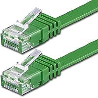 1m - Piatto CAT6 Cavo | verde - 1 Stück | 10/100/1000 Mbit / s | Gigabit LAN cavo di rete | Flat | Slim | cavi Patch | cavi di installazione | CAT5 CAT6 CAT7 compatibile | nastro | Lankabel | per pavimenti, laminati, parquet, striscie di confine, battiscopa, tappeti particolarmente adatti - Console Nastro