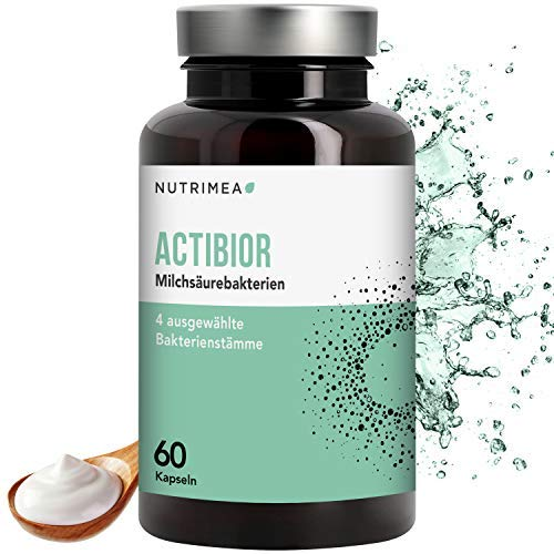 NUTRIMEA® Actibior Kulturen Komplex - 80 Mrd. Bakterien aus 4 Bakterienstämmen = 5,7 Mrd. KbE – Magensaftresistente Kapseln – Lactobacillus + Bifidobacterium. Gesunde Verdauung + Immunsystem