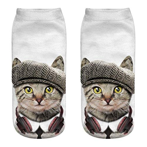 MODEOR 1 Pair Unisex Funny 3D Fashion Cat Printed Casual Socks Cute Low Cut Ankle Men Women Cotton Animals Dog Sports Stocking Harajuku Style Animal Pattern Christmas Breathable Stockings (A2) -