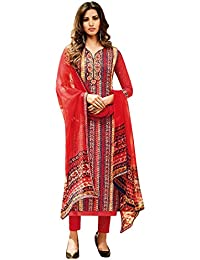Like A Diva Beautiful Smart Red Cotton Printed Salwar Suit Dress Material for Women