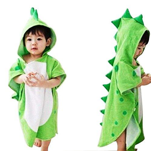 Woneart Kinder Kapuzenhandtuch Schwimmen Bad Handtuch Jungen Mädchen Dinosaurier Bademäntel Kapuzenponchos Strandtuch Kostüm (Green)