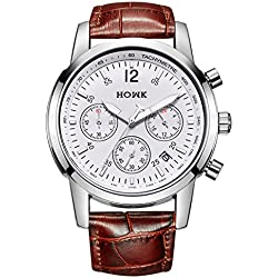 HOWK Men's Chronograph Quartz Watch Designed with TACHYMETER Luminous Hands Date Calendar and Brown Strap
