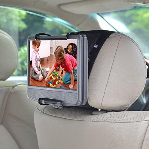 WANPOOL Kopfstützenhalterung mit verstellbaren Klemmen für tragbare DVD-Player,zur Nutzung mit portablen DVD-Playern mit schwenkbaren Monitor