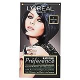 L'Oréal Paris Préférence Colore Permanente, 1 Deep Black Nero Perla