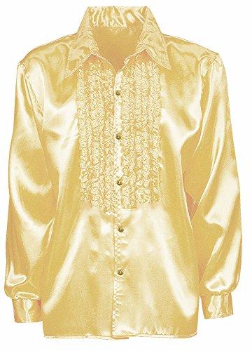 Satin Rüschenhemd Johnny - Gold Gr. (70er Jahre Hemden Herren)