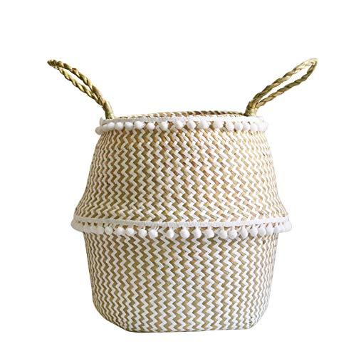 Doublele, der natürlichen Seegras-Bauch-Korb-großen Speicher-Wäschekorb mit Griffen faltet
