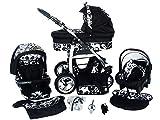 Chilly Kids Dino 3 in 1 Kinderwagen Set (Autosit & Adapter, Regenschutz, Moskitonetz, Schwenkräder) 05 Schwarz & Weiß Blumen