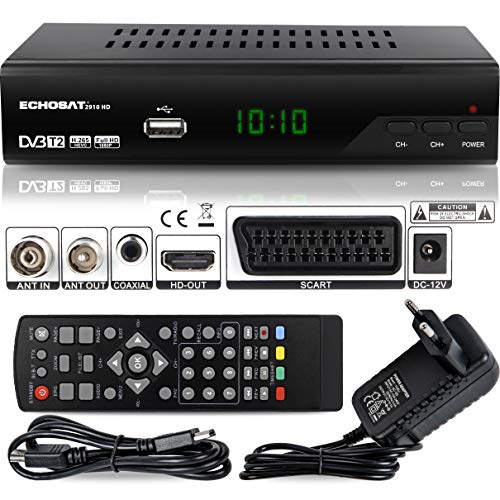 Echosat 2910 S - Receptor Digital DVB-T/T2 (Full HD, 1920 x 1080, HDMI, MPEG-4,...
