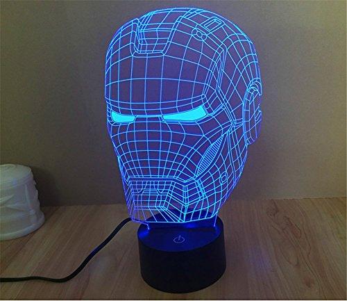 SmartEra® 3D optische Täuschung Iron Man Helm Panel Modell Beleuchtung Nacht 7 Farbwechsel USB Touch Taste LED Schreibtisch Tabellen Licht Lampe Tischleuchte (Iron Mask Kostüm)