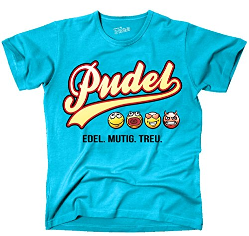 Siviwonder Unisex T-Shirt PUDEL - OLD SCHOOL SCHRIFT Hunde Türkis
