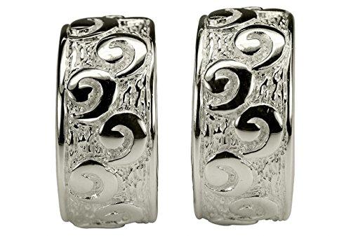 SILBERMOOS Damen Ohrschmuck Creolen Ornament Römisch gemustert matt glänzend Sterling Silber 925 Ohrringe