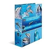 Herma 7167 Karton Motivordner DIN A4, Serie Tiere, Design Delfine, 70 mm breit, 1 Ordner, mit Innendruck