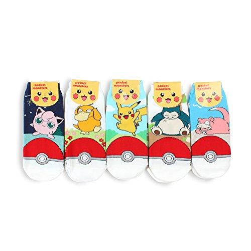 (Pokemon Pikachu Offizielle Socken Kollektion mit INTYPE Pouch(5Pairs (AN15))