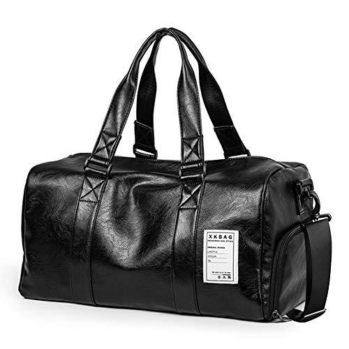 SPAEHR Vintage Reisetaschen Ledertasche Herren Handgepäck Sporttasche Overnight Duffel Bag Umhängetasche Unisex Damen Handtasche Freizeittasche für Wochenend Urlaub Schwarz