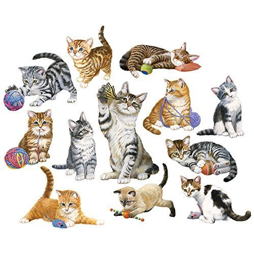 Bits and Pieces - Set of Twelve (12) Mini Jigsaw Puzzles - Kittens by the Dozen - 700 pc Cat Puzzle Collection by Artist Jack Williams -