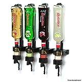 ENGOLIT 4 cl Schnapsspender (Hygienischer Finger Push Dosierer) & Flaschenhalter 4er-Set inkl. Metall-Montageschiene für Wand-Befestigung, Spirituosen 0,7-1 Liter