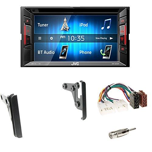 Radioeinbauset : JVC KW-V240BT - 15,7 cm (6,2?) 2-DIN Autoradio mit DVD / CD / Touchscreen + 2-DIN Radioblende in schwarz + ISO-Adapter • Antennenadapter ISO -> DIN für Toyota Celica MR2 RAV4