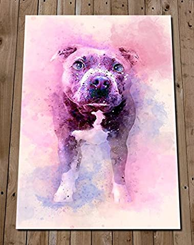 STAFFORDSHIRE BULL TERRIER Art Print - Colourful Watercolour Painting - Staffy Poster - Pit Bull - Bull Terrier Gifts - House Warming