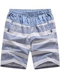 Ghope Homme Eté Cargo Shorts de Loisir Capri Grande Taille pantalon court Modèle de rayure