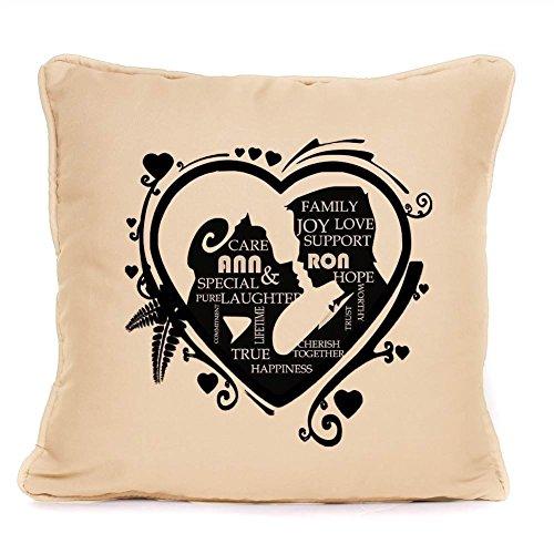 Cuscino decorativo, perfetta idea regalo per matrimoni, anniversari, San Valentino regalo unico Idea., Cream, 45 cm x 45 cm