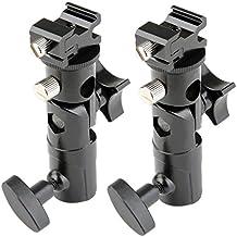 BlueBeach® 2 Piezas Tipo E Profesional Universal Luz soporte giratorio caliente calzado Flash Holder montaje con soporte de paraguas para Canon y Nikon
