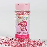 Décoration alimentaire billes en sucre rose et blanche 80 g