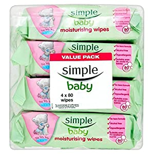 Simple Baby Moisturising Wipes (80 per pack x 4)