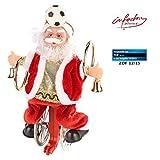infactory Singender Weihnachtsmann: Weihnachtsmann auf Einrad, mit Fussball (Sportlicher Weihnachtsmann)