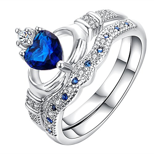 Yoursfs Irish Claddagh Freundschaft & Love simulierten Saphir Blau Herz CZ Zirkonia Ring