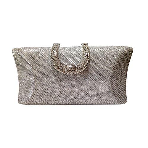Sacchetto di diamanti anello fibbia moda Yingzunew con singolo Crossbody bag ladies catena borsa da sera (argento)
