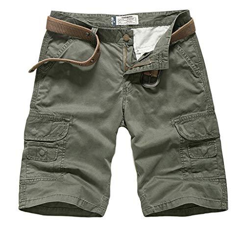 Alaeo Sommer Männer Multi-Bag Shorts lose beiläufige Overalls Baumwoll-Twill-Armee-Cargo-Hosen im Freien tragen leichte Shorts große Größe,H,31 - Baumwoll-twill Overall