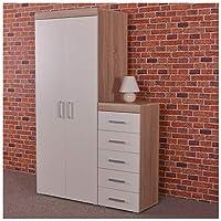DRP Trading 2 Door Wardrobe & 5 Drawer Tall Boy Chest in White & Sonoma Oak Bedroom Furniture Set