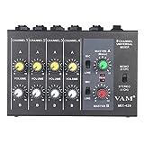 ammoon Ultra-compatta Low Noise 8 Canali Metallo Mono Stereo Audio Mixer con Cavo Adattatore di Alimentazione
