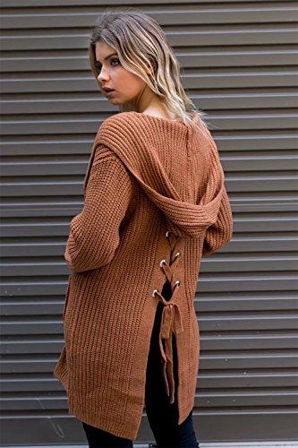CoCo Fashion Damen Offener Langarm Strickmantel Lace Up Lose Hooded Strick Pullover Strickjacke Cardigan Mantel Rot
