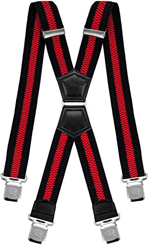 Decalen Hosenträger für Herren mit 4 Starken Clips X Form Lang Eine Größe Passt Alle Verschiedenen Farben (Schwarz Rot 2)