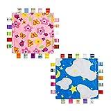 INCHANT Sicherheitsdecke - Bunte Baby-Decke mit Taggies, handgemachte Tröster für Neugeborene, 2 PCS