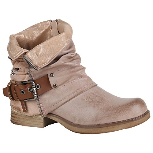 Stiefelparadies Damen Biker Boots Leder-Optik Stiefeletten Warm Gefütterte Booties Blockabsatz Winter Schuhe Winterboots Zipper Snake Print Flandell Rosa Glitzer