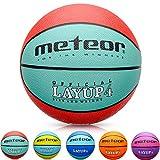 Meteor Palla Basket Pallone da Basket Palla da Basket Basketball - Taglia 4 - Dimensione Bambini & Giovani da Basket Ideale per Formazione Pallacanestro Layup (4, Rosso)
