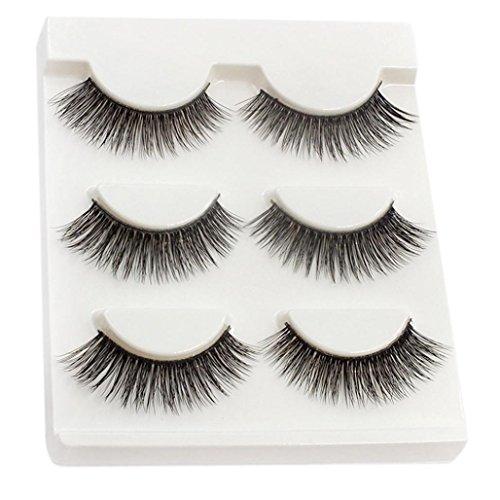 Coolster 3 Paar natürliche Make-up weiche dicke falsche Wimpern schwarze Augenpeitschen -B