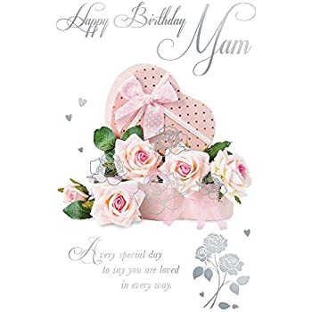 Happy Birthday Mam Rose & Box Design Happy Birthday Card