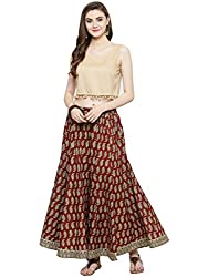 Beige crop top with indigo printed Palazzo KFF-VAR118255_PZ165120