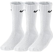 Nike 3Ppk Value Cotton Crew - Calcetines unisex, color blanco/negro, talla L/ 42-46