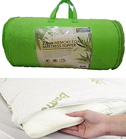 Bamboo Memory Foam Mattress Topper with Cover, 2 inch (Single)