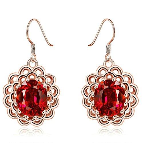 Gnzoe Gioielli 18K Oro Rosa Placcato Drop Orecchini Fishhook Sun Fiore Oval Rosso Cristallo Eco Amichevole